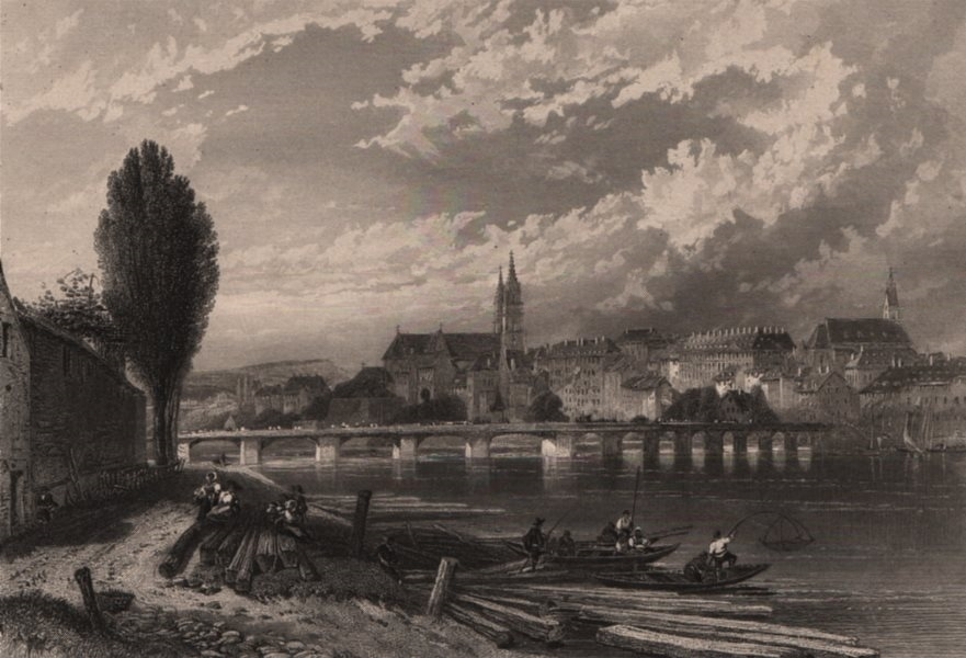 Associate Product BASEL BASLE. Attractive town view. Fishermen. Switzerland. Rhine Valley 1875
