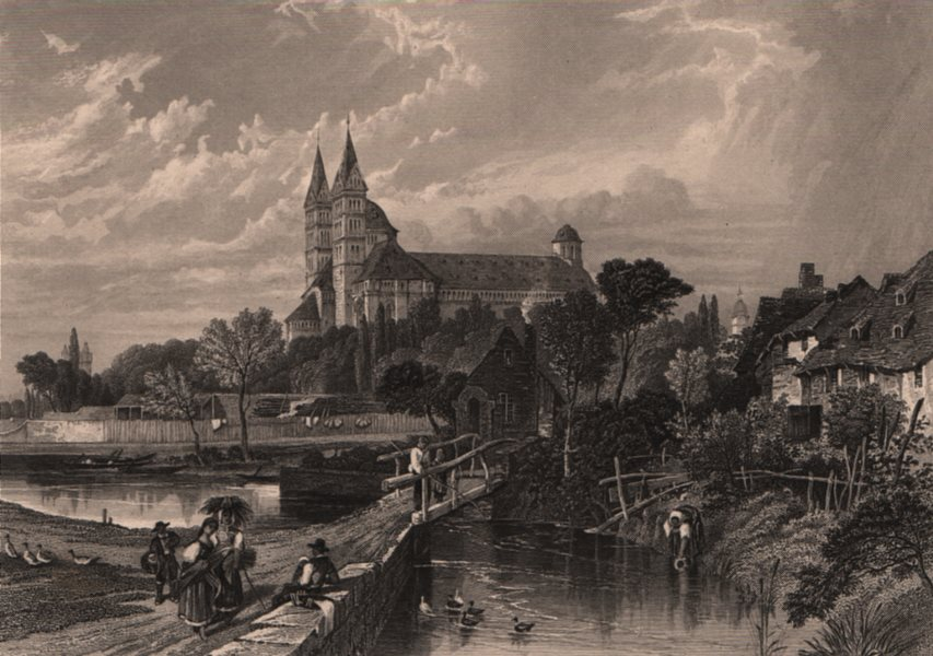 Associate Product SPEYER. View of the cathedral & town. Steel engraving. Germany Rhine Valley 1875