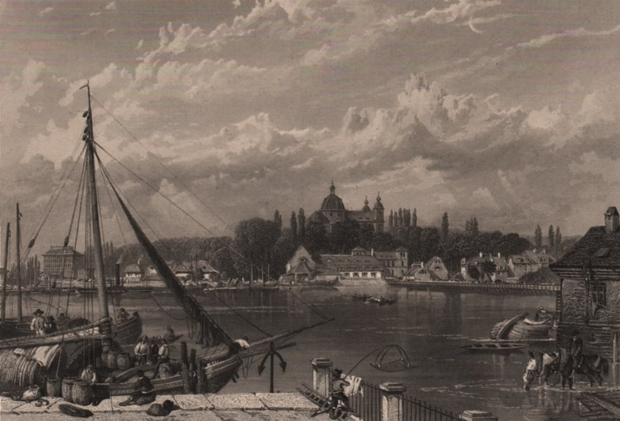 Associate Product MANNHEIM. Town view. Fishermen. Steel engraving. Germany. Rhine Valley 1875