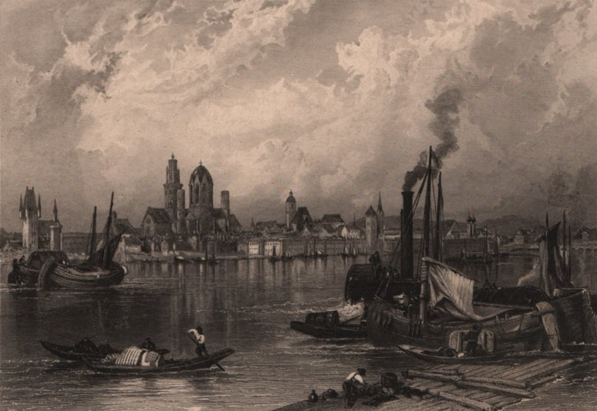Associate Product MAINZ. Attractive town view. Steel engraving. Germany. Rhine Valley 1875 print
