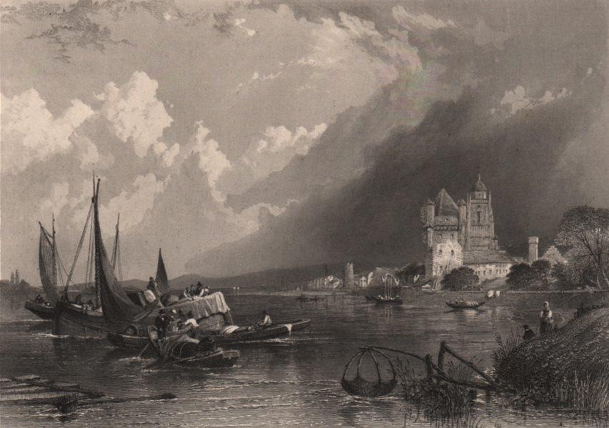 ELFELDT (ELTVILLE). Electoral castle. Steel engraving. Germany Rhine Valley 1875