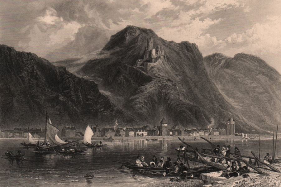 Associate Product ST GOARHAUSEN. View of the town & Burg Katz Castle. Germany Rhine Valley 1875