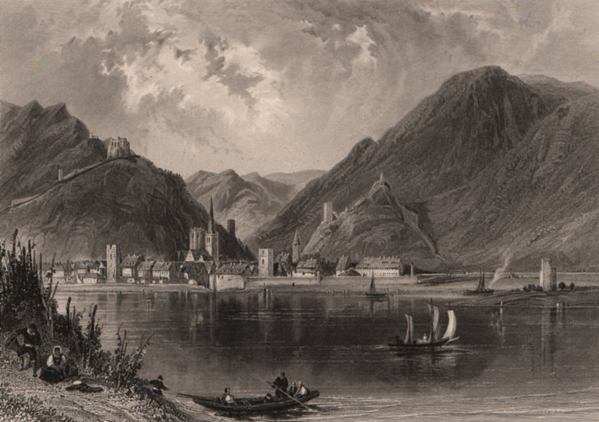 Associate Product BACHARACH. Town view. Burg Stahleck Castle pre rebuilding. Germany Rhine 1875