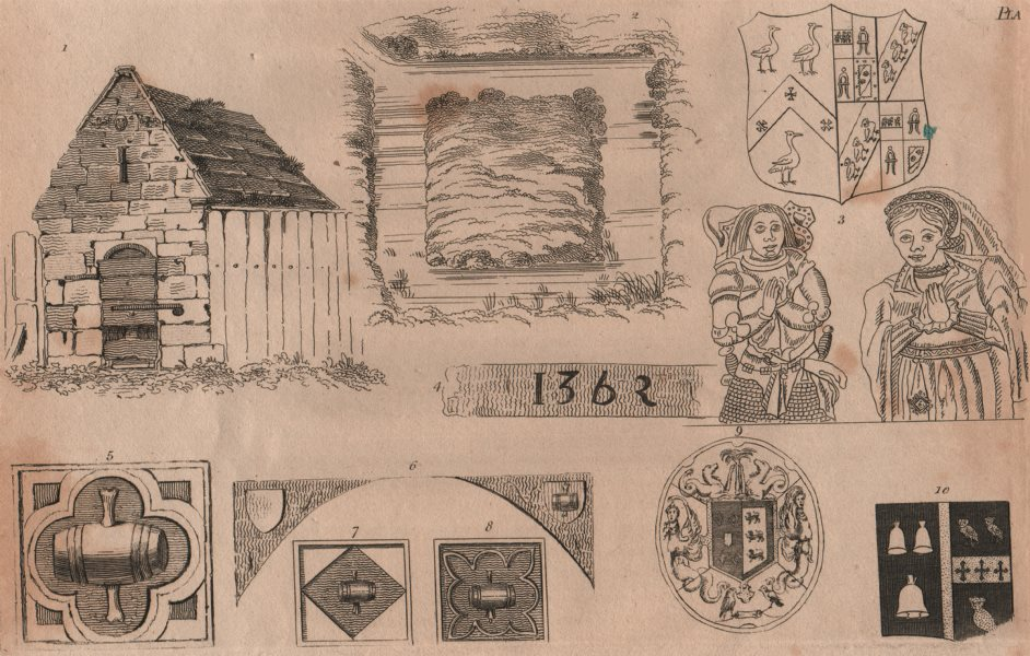 Associate Product ISLINGTON PARISH. relics of the parish. 1362 1823 old antique print picture