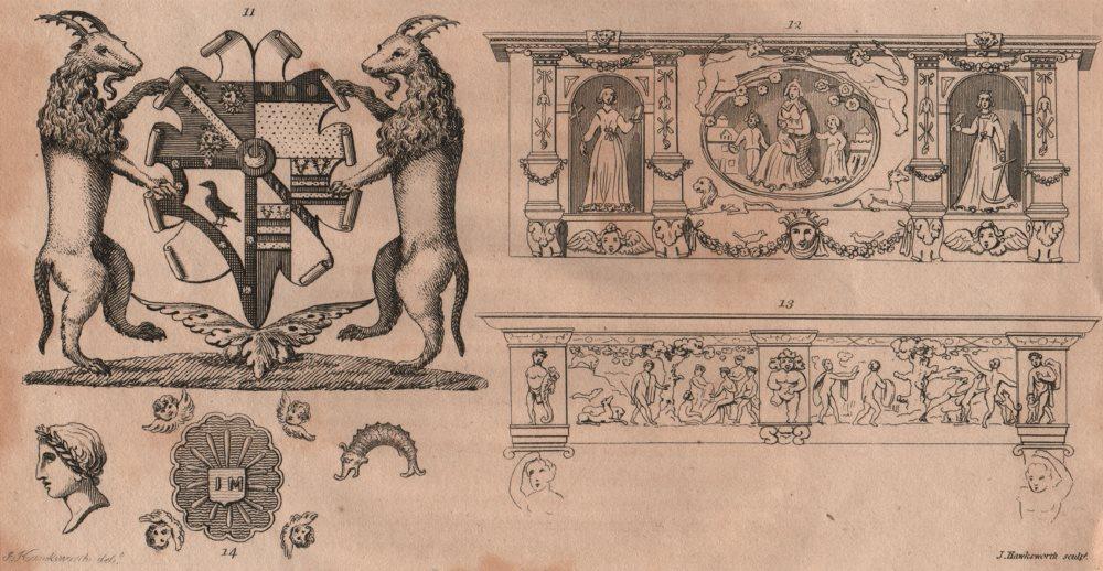 Associate Product ISLINGTON PARISH. relics & coat of arms 1823 old antique vintage print picture