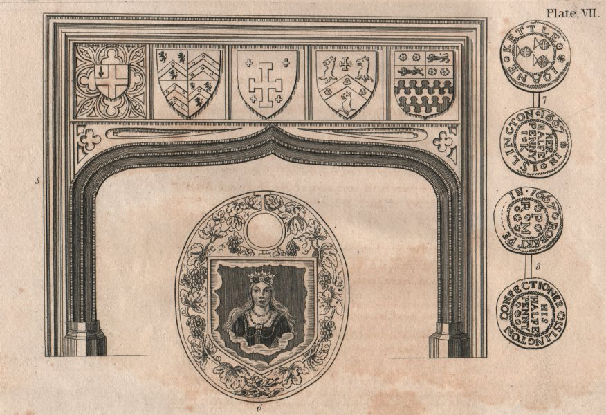 Associate Product ISLINGTON PARISH. Fireplace. Seals.  1823 old antique vintage print picture