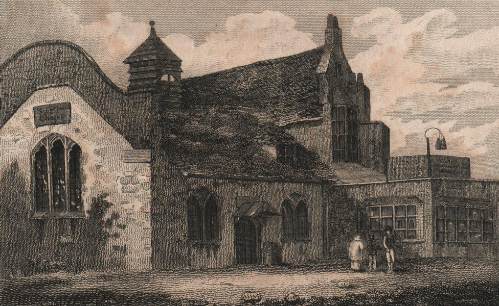 Associate Product ISLINGTON PARISH. Kingsland Chapel 1823 old antique vintage print picture