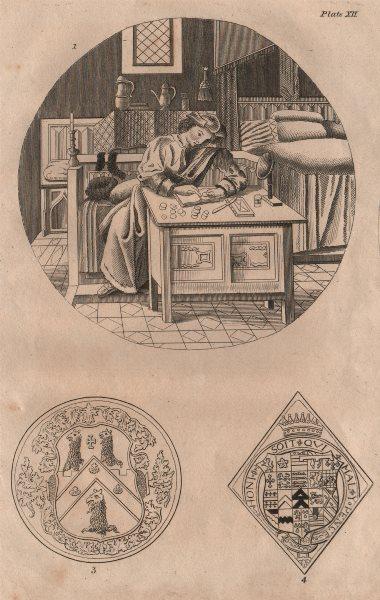 Associate Product ISLINGTON PARISH. Writer. Coats of arms 1823 old antique vintage print picture