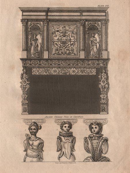 Associate Product ISLINGTON PARISH. Ancient Chinney Piece at Canonbury 1823 old antique print