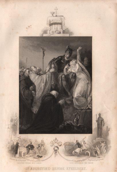 Associate Product ST AUGUSTINE & ETHELBERT. Inset Paulinus & King Edwin. Coifi Temple 1853 print