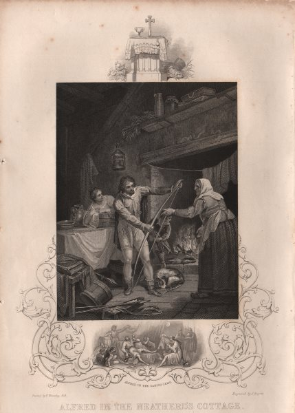 Associate Product KING ALFRED. In the Neatherd's Cottage. Alfred in the Danish Camp. TALLIS 1853