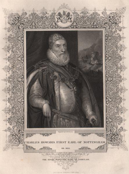 Associate Product BRITISH HISTORY. Charles Howard, first Earl Of Nottingham. TALLIS 1853 print