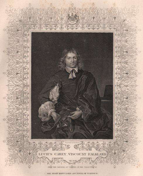 Associate Product BRITISH HISTORY. Lucius Carey, Viscount Falkland. TALLIS 1853 old print