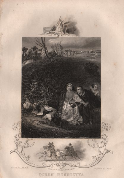 Associate Product ENGLISH CIVIL WAR. Queen Henrietta hides from Roundheads. Charles I Oxford 1853
