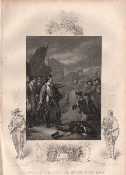 Associate Product ENGLISH CIVIL WAR. Cromwell suppressing Mutiny. Dissolving Long Parliament 1853