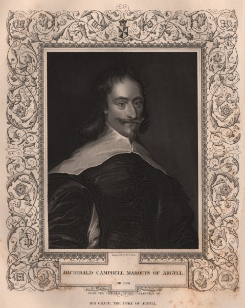 Associate Product BRITISH HISTORY. Archibald Campbell, Marquis Of Argyll. TALLIS 1853 old print