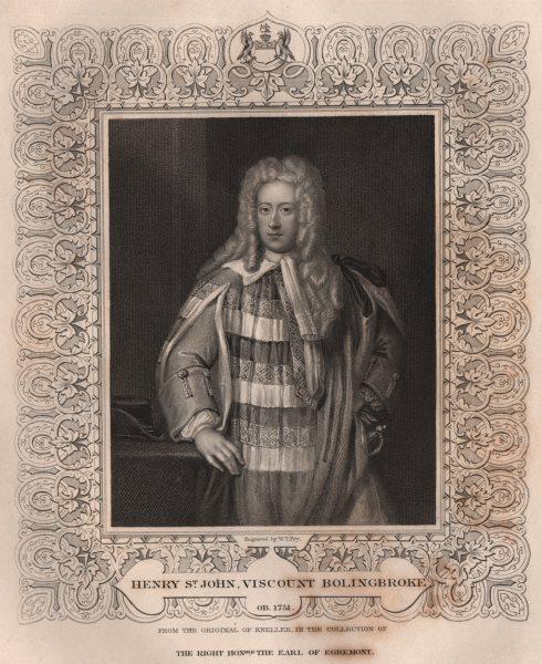 Associate Product BRITISH HISTORY. Henry St. John, Viscount Bolingbroke. TALLIS 1853 old print