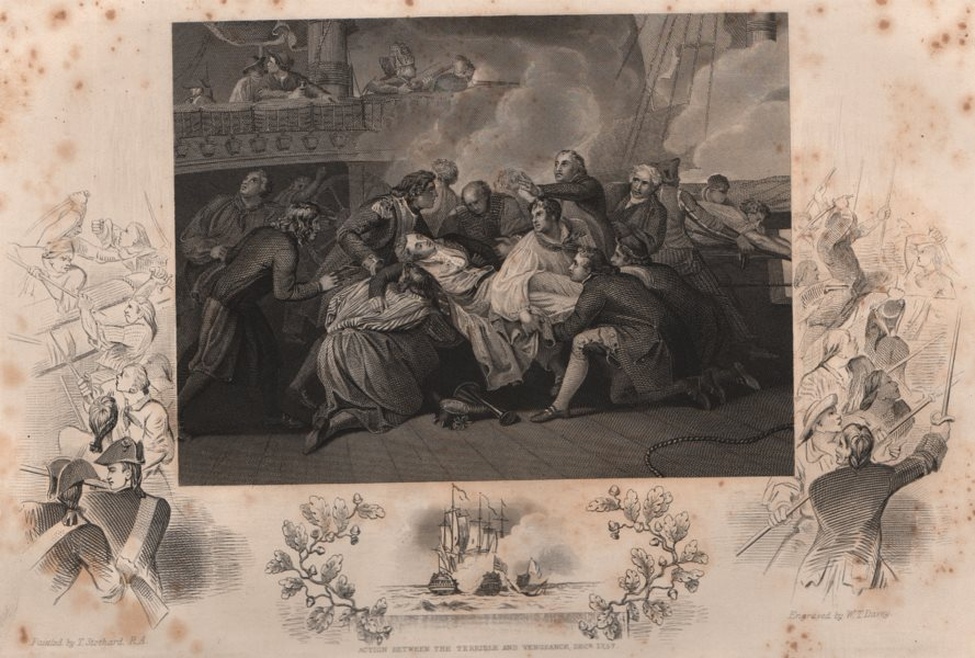 Associate Product BATTLE OF THE SAINTES 1782. Lord Robert Manners' death. Dominique. TALLIS 1853