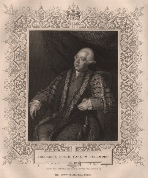 Associate Product BRITISH HISTORY. Frederick North, Earl Of Guildford. TALLIS 1853 old print
