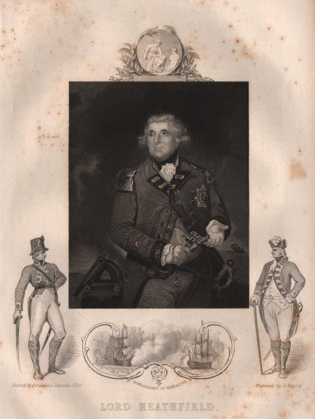Associate Product GIBRALTAR. Lord Heathfield (Inset. Bombardment of Gibraltar) . TALLIS 1853