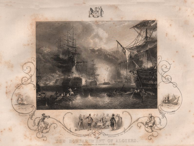 Associate Product BOMBARDMENT OF ALGIERS. inset Keppel threatened by the Bey of Algiers 1853