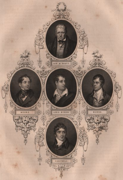 Associate Product BRITISH HISTORY. Sir Walter Scott; Moore; Lord Byron; Burns; Campbell 1853