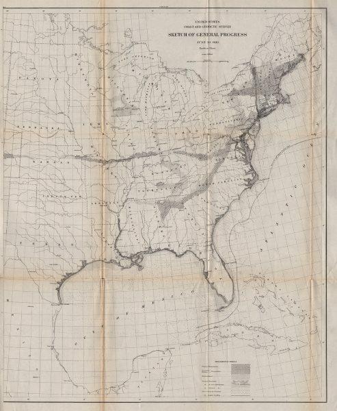 Associate Product USA EAST SHEET. Coastal & Geodetic survey. Triangulation. USCGS 1889 old map