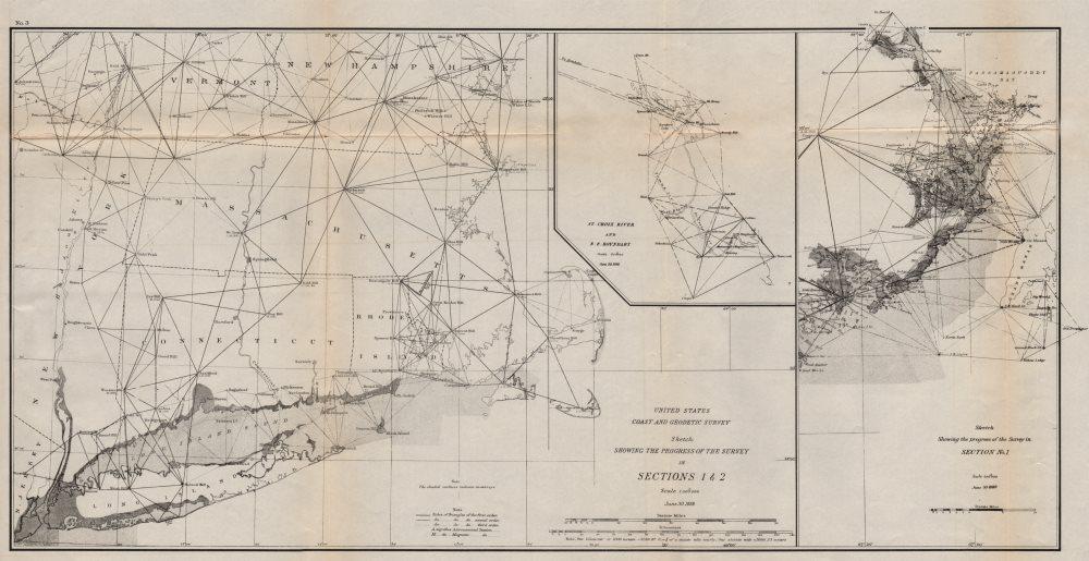 NEW ENGLAND SURVEY. LHS-Connecticut RI MA Long Island. RHS-Maine. USCGS 1889 map