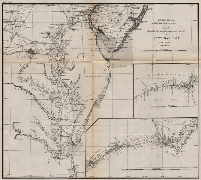 Associate Product USA ATLANTIC COAST.Chesapeake & Delaware Bay.Cape Fear & Lookout.USCGS 1889 map