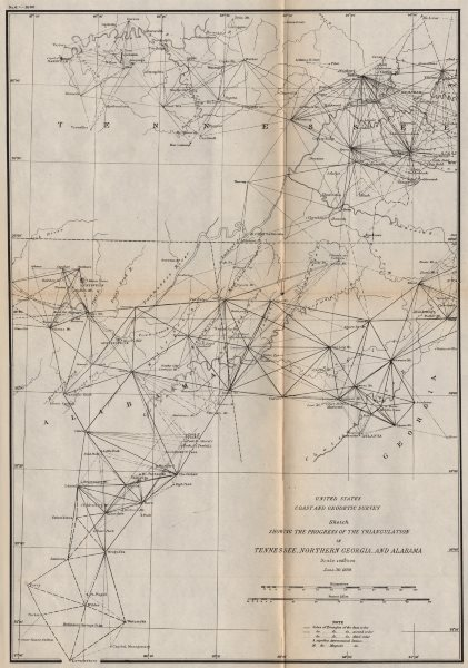 Associate Product TENNESSEE ALABAMA NORTH GEORGIA. Nashville Knoxville Chattanooga. USCGS 1889 map