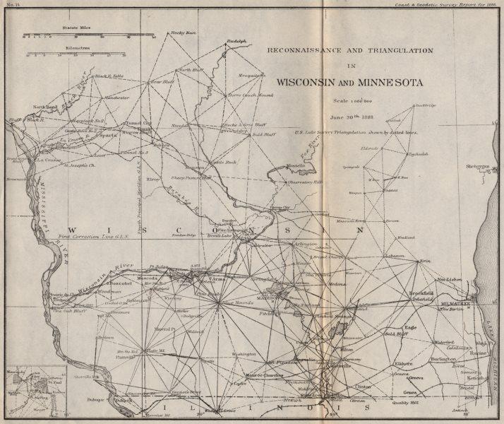 Associate Product MIDWEST USA.Wisconsin Minnesota triangulation.Milwaulkee Madison.USCGS 1889 map