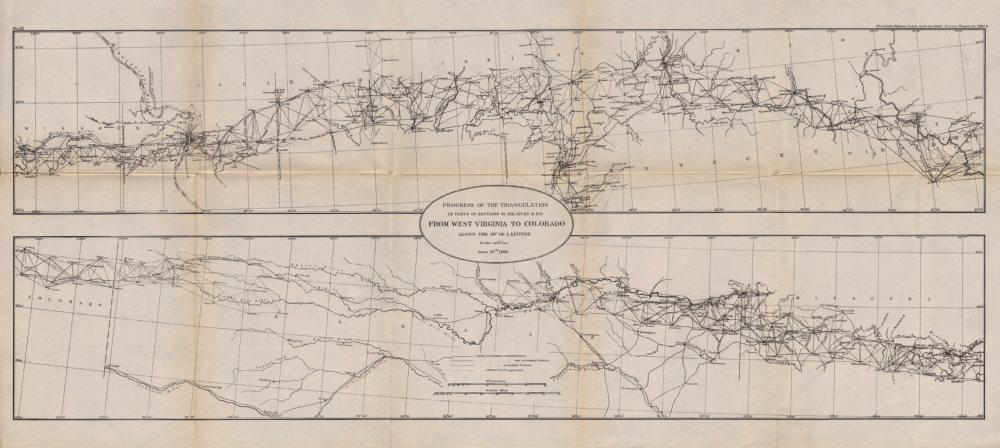 Associate Product USA.Transcontinental triangulation West Virginia to Colorado 39°.USCGS 1889 map