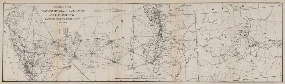 Associate Product USA.Transcontinental triangulation from Pacific Coast.CA UT NV CO.USCGS 1889 map