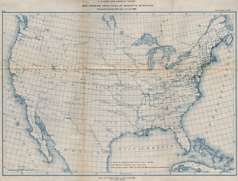 Associate Product USA. Magnetic survey stations. USCGS 1889 old antique vintage map plan chart