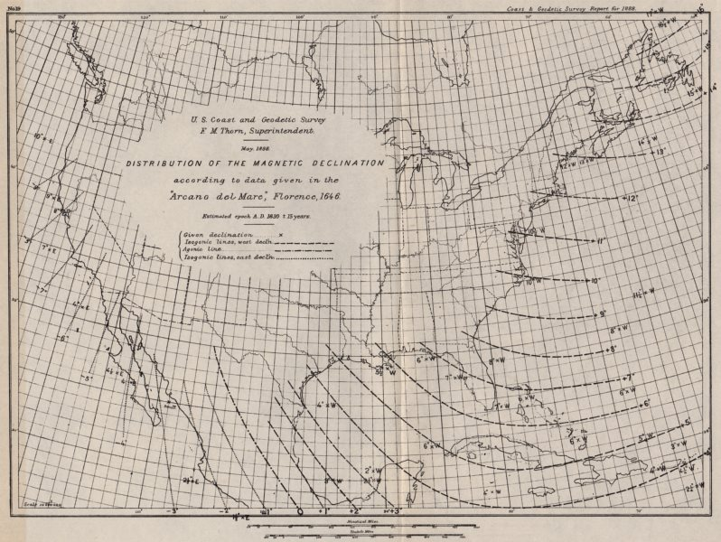 Associate Product USA. Magnetic declination 1630. Arcano del Mare. Isogonic lines. USCGS 1889 map
