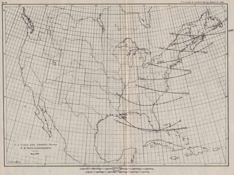 Associate Product USA. Showing magnetic declination in 1700 & 1750. Isogonic lines. USCGS 1889 map