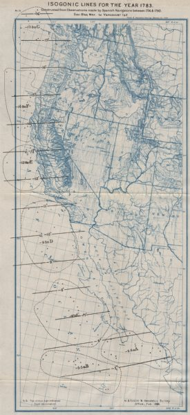 Associate Product USA WEST COAST. Isogonic lines in 1783 from Spanish navigators. USCGS 1889 map