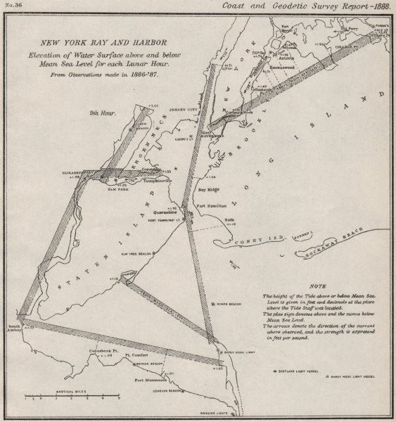 Associate Product NEW YORK BAY/HARBOR. Water level v mean sea level 9th Lunar Hour. USCGS 1889 map