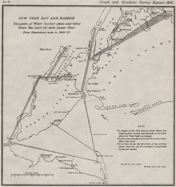 Associate Product NEW YORK BAY/HARBOR.Water level v mean sea level 10th Lunar Hour.USCGS 1889 map