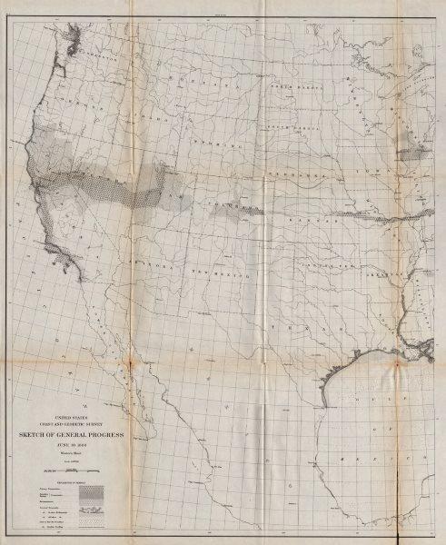 USA WEST SHEET. Coastal & Geodetic survey. Triangulation. USCGS 1889 old map