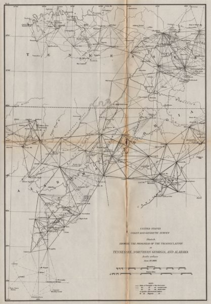 TENNESSEE ALABAMA NORTH GEORGIA. Nashville Knoxville Chattanooga. USCGS 1889 map
