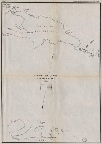 Associate Product HISPANIOLA. Ocean current directions 1889. Cuba Puerto Rico. USCGS 1889 map