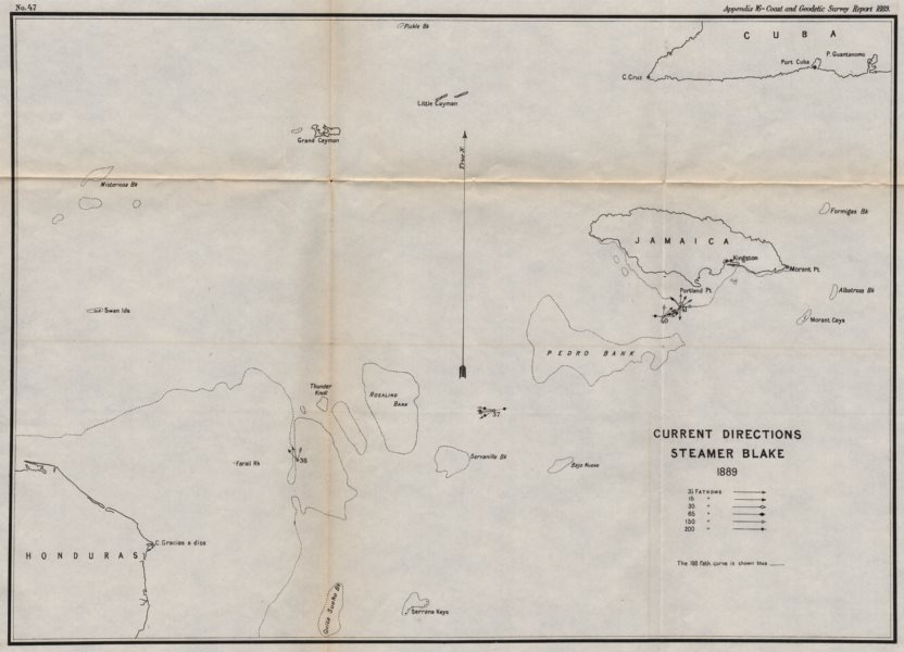 Associate Product JAMAICA. Ocean current directions 1889. Caribbean. USCGS 1889 old antique map