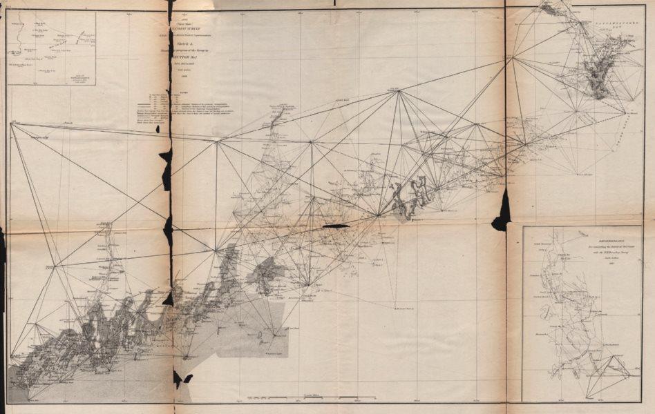 Associate Product MAINE COASTAL SURVEY.Portland-Canadian border.Mount Desert Island.USCGS 1871 map