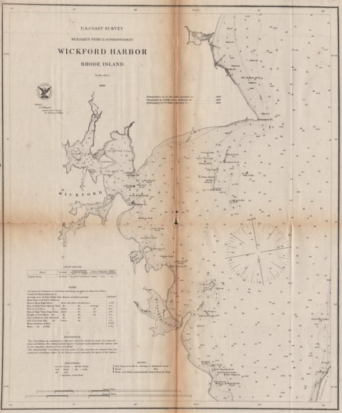 Associate Product RHODE ISLAND. Wickford Harbor coastal chart. North Dún Laoghaire. USCGS 1871 map