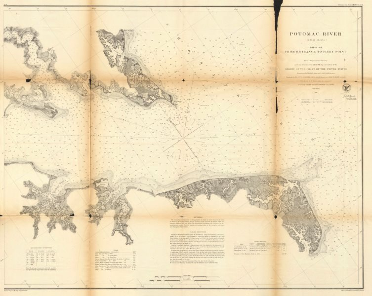 Associate Product POTOMAC RIVER.Sheet 1.Entrance to Piney Point.Maryland Virginia.USCGS 1871 map