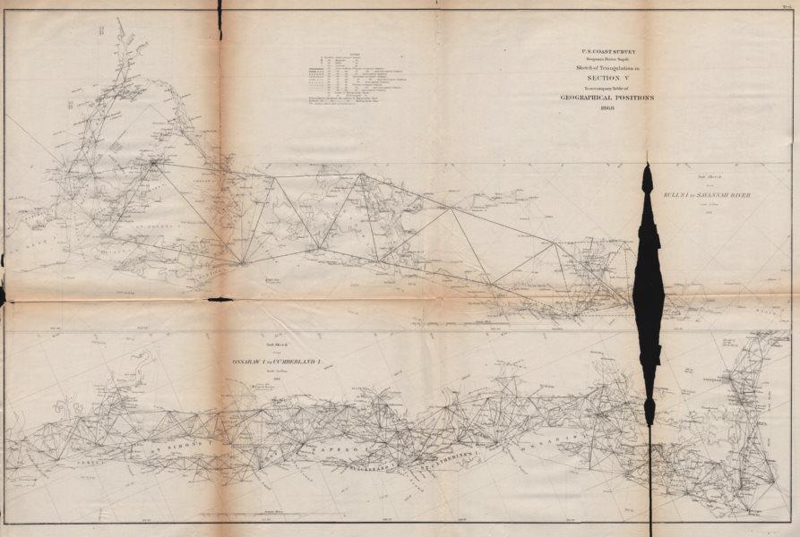 Associate Product US COAST.UP-SC Charleston-Hilton Head DOWN-GA Savannah-Brunswick.USCGS 1871 map