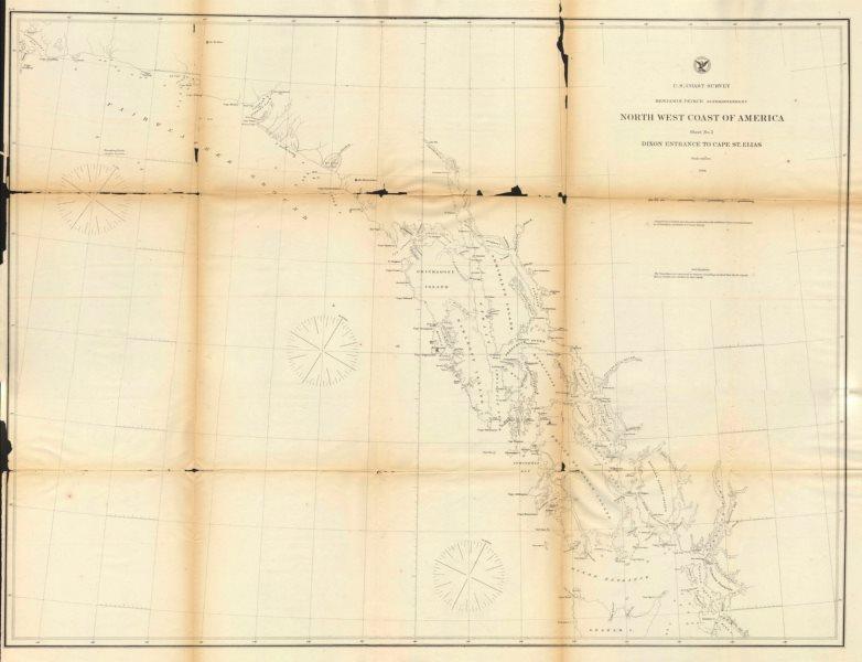 Associate Product ALASKA COAST. Dixon Entrance to Cape St. Elias. USCGS 1871 old antique map