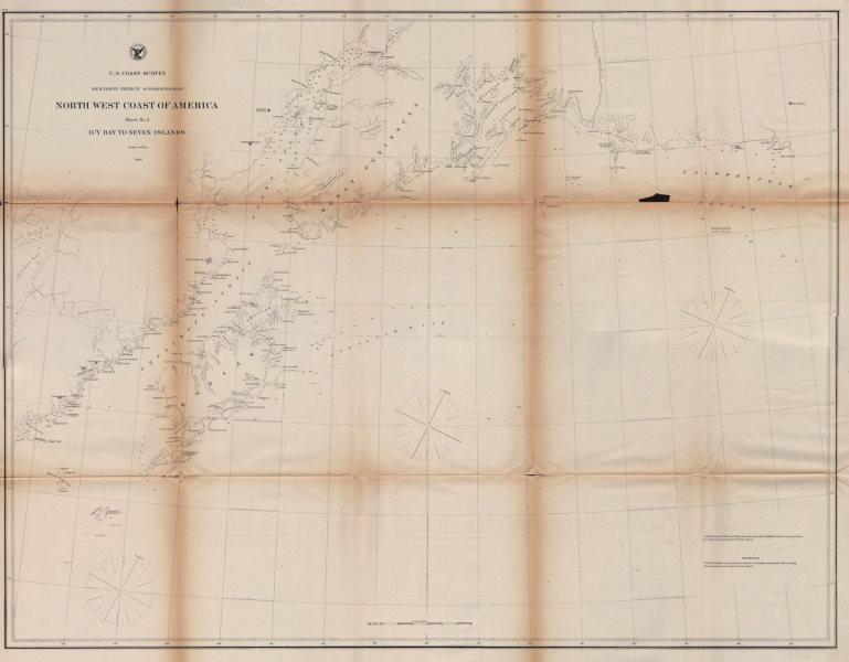 Associate Product GULF OF ALASKA COAST CHART. Anchorage. Mt St Elias. Icy Bay. USCGS 1871 map
