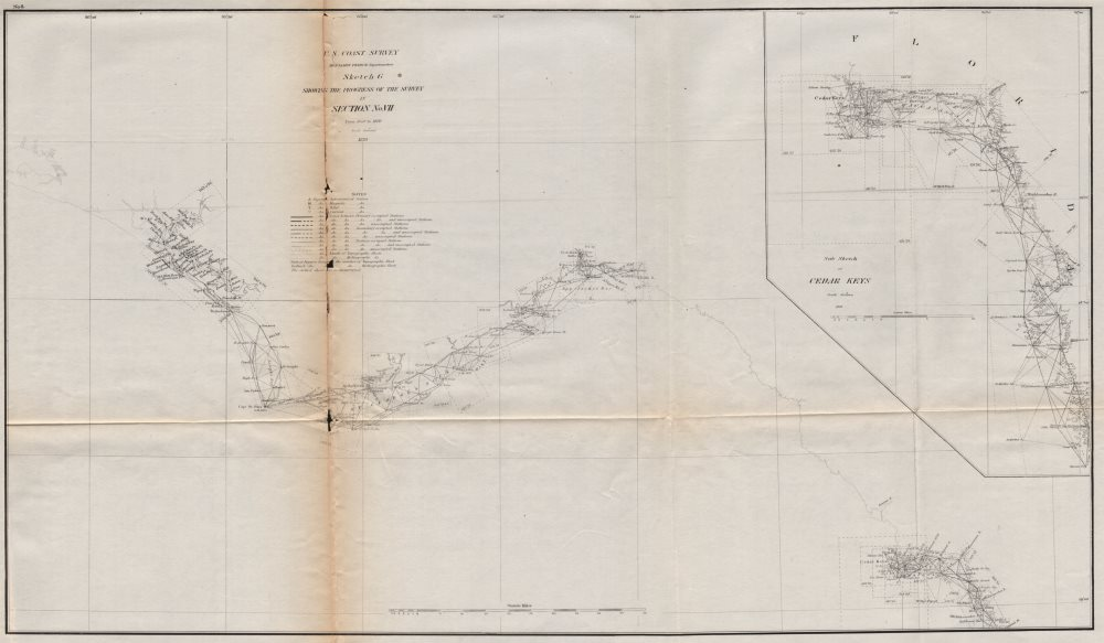 Associate Product FLORIDA GULF COAST SURVEY.St Andrews Bay-Cedar Key-Chassahowitzka.USCGS 1870 map